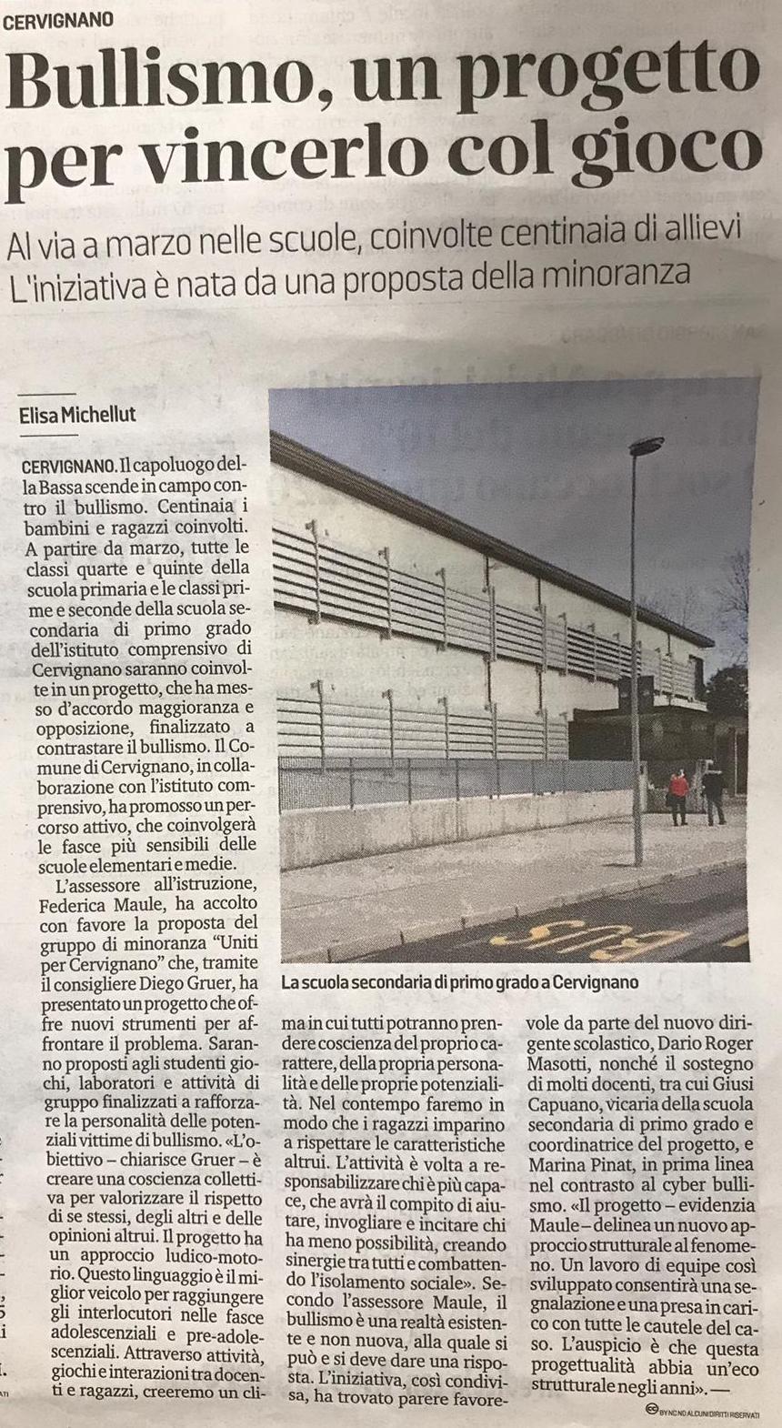 2019.01.31- Messaggero - Bullismo, un progetto per vincerlo